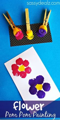 Flower Pom Pom Painting Crafts for Kids # Spring Art Project # Mother's Day Card Idea - Crafts for Kids Spring Art Projects, Projects For Kids, Art Project For Kids, Mother's Day Projects, Toddler Art Projects, Craft Projects, Summer Crafts For Toddlers, Spring Toddler Crafts, Kids Diy