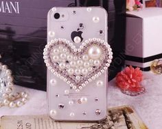 Free shipping Big heart pearl rhinestone bling by dnnayding, $24.99