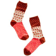 dotted menagerie 1937 socks ($13) ❤ liked on Polyvore featuring intimates, hosiery, socks, accessories, red, women, polka dot socks, merino socks, red socks and polka dot hosiery