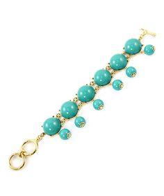 Gold & Turquoise Round Stone Bracelet
