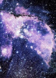 """Clusters of stars and galaxy clouds - a beautiful purple and blue photo of space taken with time lapse photography, based on the bright centers of stars and the cross / plus sign """" halo"""" lights around many #Stars. #DdO:) - UNIVERSE LIGHTS. Photo via #Tumblr."""