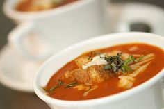 OVEN ROASTED TOMATO-BASIL SOUP WITH SMOKED GOUDA CHEESE & CROUTONS