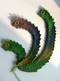Crocheted Peacock Feathers NO GRAPH Similar to Irish Leaf, extended, changing colors as you wish to make a realistic feather.  Should be easy enough. ~K