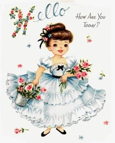1950's Gibson Girl Vintage Greeting Card
