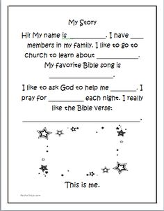 Free children';s printable- My Story- a mini-testimonial sheet for children to enjoy!