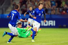 Federico Bernardeschi of Italy (10) celebrates as he scores their first goal during the 2017 UEFA European Under-21 Championship Group C match between Italy and Germany at Stadion Cracovia on June 24, 2017 in Krakow, Poland.