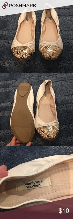 Simply Vera White Flats NWOT These white and gold flats are part of Vera Wang's Simply Vera line. Never been worn because they were too small!. Size  9. Fits true to size and are in mint condition!! Simply Vera Vera Wang Shoes Flats & Loafers
