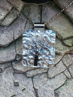 Dichroic Fused Glass Pendant - Crystal Block with Tree Embellishment | HCLTreasures - Jewelry on ArtFire, $24.50