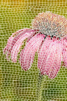 Cone flower mosaic.  Use paint sample strips instead of tiles?