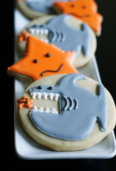 Take a Bite out of these Shark Week Cookies: Cookie Decorating Tutorial by Bridget Edwards of Bake at 350 #SharkWeek