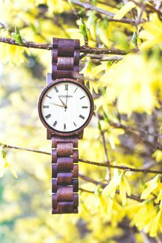 """Fall Dusk"" (Walnut/Maple) on www.holzkern.com  © Jakob Holzapfel Wood Watch, Dusk, Watches, Fall, Tips, Accessories, Wood Stone, Stones, Wooden Clock"
