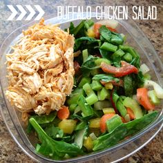 Paleo salad. Buffalo chicken salad. Salad full of veggies and tasty chicken! Best salad! Salad for two one night plus enough for lunch the next day for both!