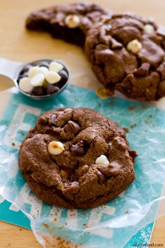 Thick double chocolate chip cookies are stuffed with Milky Way candies. So GOOD.