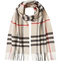 Burberry Shoes & Accessories Check Print Cashmere Scarf (1.270 BRL) ❤ liked on Polyvore featuring accessories, scarves, burberry, multicolor, burberry shawl, plaid cashmere scarves, tartan cashmere scarves, plaid shawl and multi colored scarves