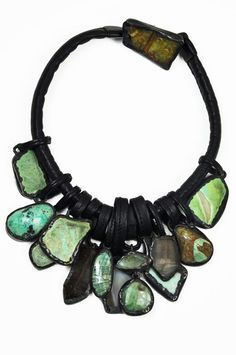 Monies agate, crystal, chrysoprase necklace - green