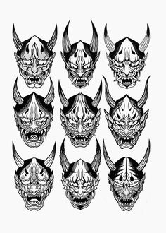Beautiful Design By Artist . Share Us To Your Freinds. Japanese Oni Mask, Japanese Demon Tattoo, Black White Tattoos, Black Ink Tattoos, Body Art Tattoos, Hannya Mask Tattoo, Ancient Japanese Art, Samurai Artwork, Mask Drawing