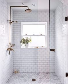 Bathroom decor for your master bathroom remodel. Discover master bathroom organization, bathroom decor suggestions, master bathroom tile some ideas, master bathroom paint colors, and much more. Bad Inspiration, Bathroom Inspiration, Bathroom Renos, Bathroom Renovations, Modern Bathroom, Bathroom Makeovers, White Subway Tile Bathroom, Bathroom Cabinets, Design Bathroom
