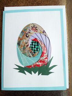 Homemade Iris Fold Easter Egg Card with by BjwHomemadeWithLove, $4.50