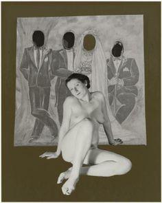 Marcel Bovis. Nu féminin, panneau de photographe extrait de la série sur les Fêtes 1990. Photomontage.
