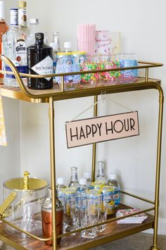 How to Build the Perfect Bar Cart - an affordable bar cart to fill with all entertaining essentials! Diy Bar Cart, Gold Bar Cart, Bar Cart Decor, Bar Carts, Bar Cart Styling, Happy Hour, Home Bar Areas, Alcohol Bar, Home Bar Accessories