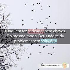 Ninguém faz cadeados sem chaves. Do mesmo modo, Deus não te dá problemas sem soluções.