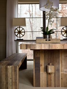 Grew up with a dining table like this that my dad made...wish I had it.  This one is made of reclaimed wood from shipping pallets.