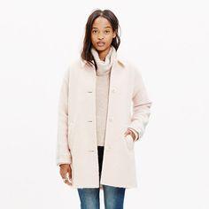 An easy cocoon shape with a touchable brushed texture. With cool stripes down each sleeve, it's a cozy coat with polish. <ul><li>Oversized fit.</li><li>Wool/mohair/poly.</li><li>Dry clean.</li><li>Import.</li></ul>