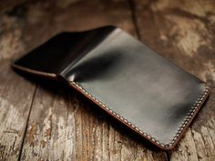 Hollows Leather Black Horween Shell Cordovan Wallet with Horween Natural Horse CXL inside