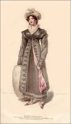 Morning Walking Dress, Jan. 1815 Oooh the pelisse is lined in pink!