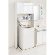洗濯機上に造りつけのような収納庫が手軽に作れます 光沢感のある扉付きですっきり隠せるタイプの洗濯機ラックです。 狭い洗面所や洗濯機周りでも洗濯機上を活用して収納力アップ。 オープン棚は背の高いボトル洗剤も置けて洗濯も効率的になります。