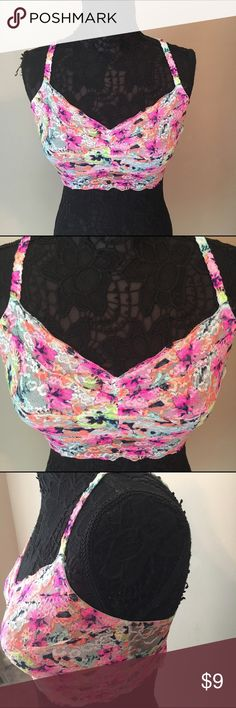 VS PINK Large Bralette This multi color bralette is the perfect pop under any top for the summer. It has adjustable straps. PINK Victoria's Secret Intimates & Sleepwear Bandeaus