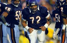 Chicago Bears William 'The Refrigerator' Perry running onto field during player introductions before game vs Indianapolis Colts. 1985 Chicago Bears, William Perry, Indianapolis Colts, Football Helmets, Nfl, Running, Sports, Refrigerator, Game