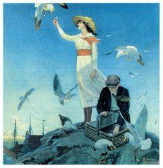 Norman Rockwell Picnic on a Rocky Coast Print, Vintage Fisherman Print, Original Vintage Art Print, Buy Any 2 Prints & Get a 3rd FREE