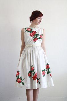 60s Dress Ikat Print Roses at VeraVague.etsy.com