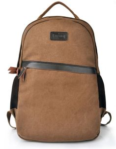Brown backpack/leather backpack/canvas by PrettyBag on Etsy, $41.00