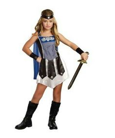 the gladiator warrior girls costume comes complete with all the essential pieces to look the part of a classic roman woman