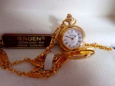 SOLD! VINTAGE WOMAN'S GRUEN GOLD NECKLACE WATCH WORKS PERFECT NEW IN BOX! SUPER!  http://r.ebay.com/v3AsS4