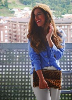 Your Outfit Today » Blue blouse on white trousers, September 9 2014