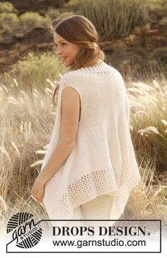 "Knitted DROPS vest in ""Alpaca"" and ""Kid-Silk"". Size: S - XXXL. ~ DROPS Design"