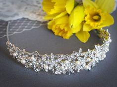 ELAINE Crystal Bridal Headband Swarovski Pearl & Rhinestone