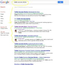 """Pretty happy with these SEO results for phrase """"Twitter Success Stories"""""""