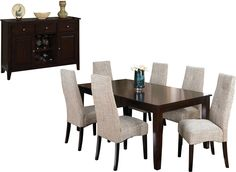 Love..... Dining Room Furniture - Dakota 8 Piece Dining Package w/ Linen Chairs