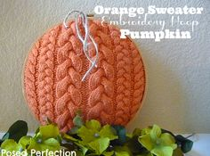 Posed Perfection: Orange Sweater Embroidery Hoop Pumpkin