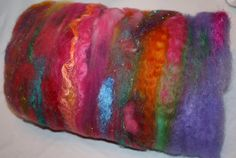 Carnival Ride Spinning Fiber Art Textured Batt by reneeknits