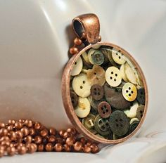 Vintage Buttons Pendant Photo Pendant Button Jewelry by artyscapes, $9.50