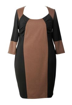 Ponte Jersey Colourblock Gathered Dress - Plus Size same dress in neutrals. Would like to see navy w gray.