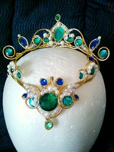 Green and blue headpiece from PointeCreations