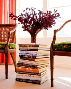 Small Urban Apartment Decorating Idea: table stack of books