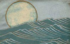 wasbella102: Moon and Waves, Art Nouveau Japanese postcard.