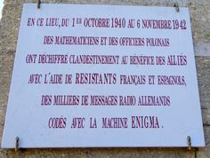 Commemorative plaque to the Polish code breakers, outside Château des Fouzes, Uzes, France, who first cracked the Enigma code Radios, Code Breaker, Sunflower Fields, France, Messages, Coding, Polish, Spanish, Enamel
